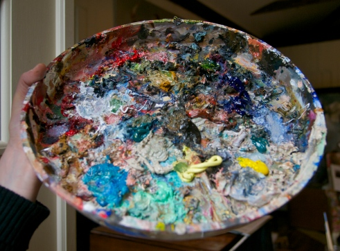 Sarah's Paint Palette- a work of art in itself!