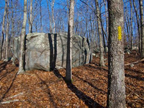 These big boulders are actually from Canada, brought south by glaciers during the last Ice Age and left behind as the ice retreated back north around 10,000 years ago.