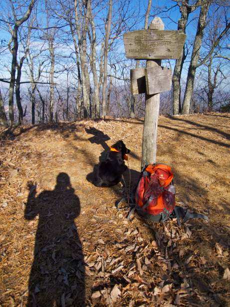 Trail intersection where the Balcony Falls Trail finally gained the ridge and met up with the AT.