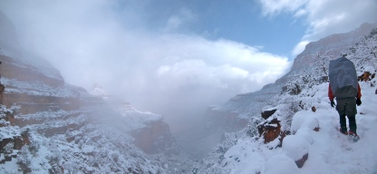 Hiking up the Bright Angel Trail in a blizzard!