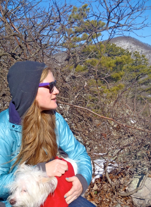 Sarah & Oliver taking a break at the Rocky Row overlook. Bluff Mountain in the background.