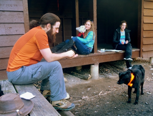 Hanging out at the John's Hollow Shelter. This was Joy's first hike on the AT!