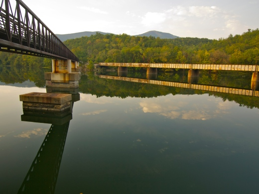 The James River Foot Footbridge on the left, the railroad bridge on the right.