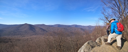 Overlooking Skyline Drive from Old Rag. The scenic road through Shenandoah National Park runs along the ridge in the background.