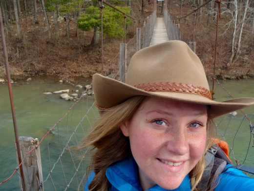 Crossing the swinging footbridge over the Maury River at Goshen Pass, Va.