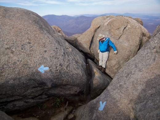 My Dad negotiating one of the many tricky boulder problems on the way up Old Rag.