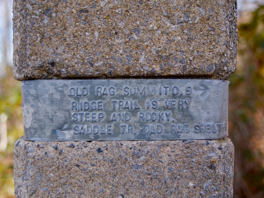 Warning on a Shenandoah trail marker
