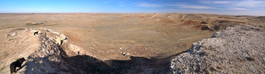 On the Edge of the Bg Basin. We're heading down to that windmill and corral below. The Teardrop is on the far left.