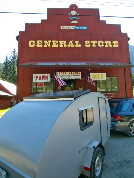 Outside the General Store in Hyder, Alaska