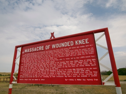 Historical sign marking the site of the Wounded Knee Massacre