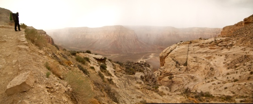 A hail storm sweeps through Havasu Canyon