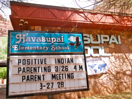 Havasupai Elementary School. While we were waiting, the school broadcast the kids' recitation of the Pledge of Allegiance. Odd...
