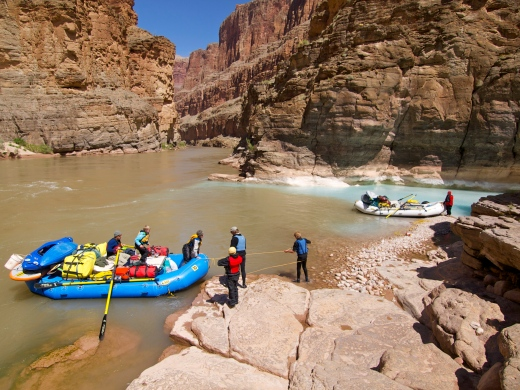 Rafts on the Colorado, stopping at Havasu Creek
