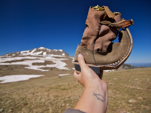 Treasure: An old boot I found stuffed in a cairn marking the Continental Divide Trail