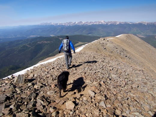 Following Richard down the summit ridgeline. Crazy windy!