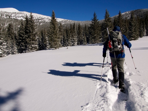 Mountaineer Shadows, heading for Baldy on the left