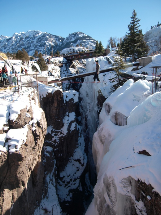 Highliner above the Ouray Ice Park