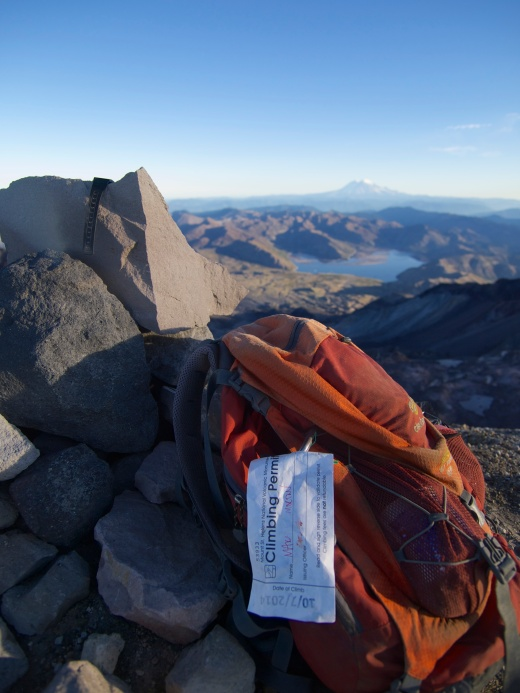 My permit on my backpack on the summit.
