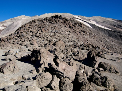 Looking up towards the summit through the endless class-3 boulder field