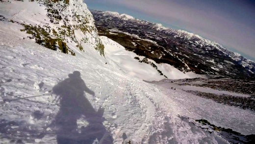 Skiing down the North side of Lone Peak... double blacks all the way!