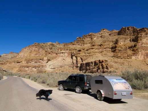 Our last road trip through Utah's 9-mile canyon. The tire could have blown here, hitched up, in the middle of nowhere, but it didn't. It blew in the best possible circumstances. Thanks, Rover.