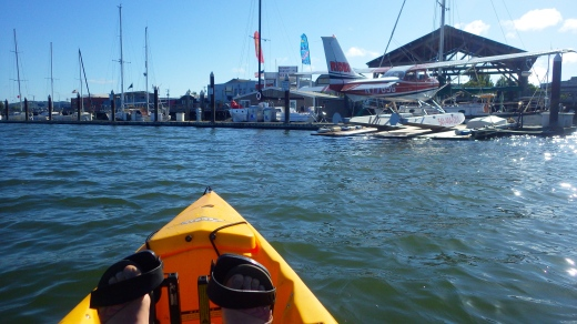 Pedal-kayaking in Coos Bay, Oregon