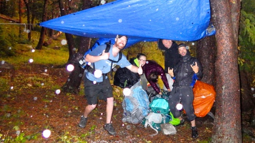 Happy Backpackers in a Hailstorm at 9,000 feet